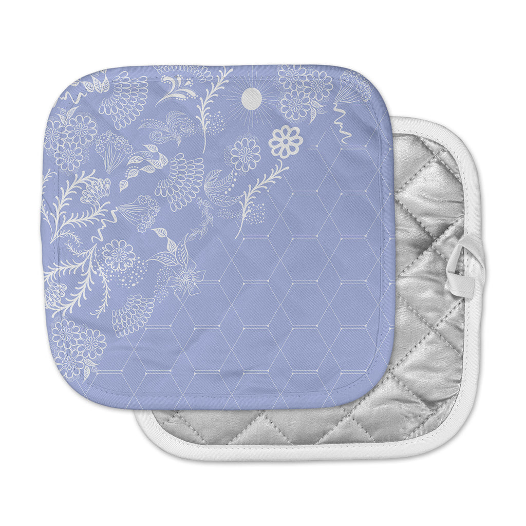 "Famenxt ""Flora Summer Polygon"" Blue Lavender Illustration Pot Holder"