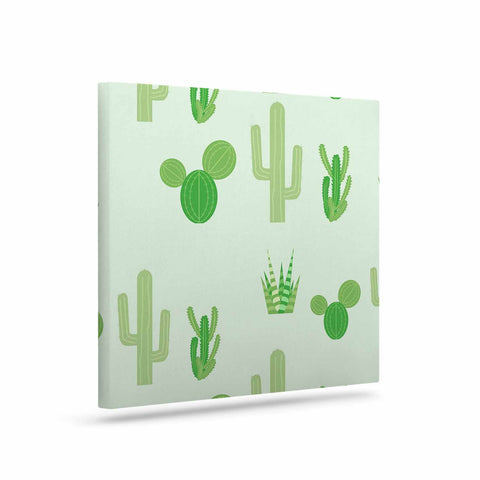 "Famenxt ""Prickly Mint Cactus"" Green Nature Illustration Canvas Art"
