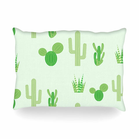 "Famenxt ""Prickly Mint Cactus"" Green Nature Illustration Oblong Pillow"