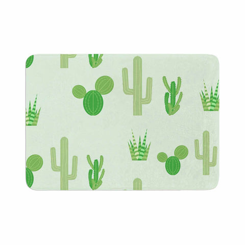 "Famenxt ""Prickly Mint Cactus"" Green Nature Illustration Memory Foam Bath Mat"