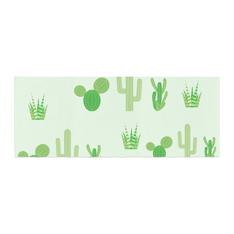 "Famenxt ""Prickly Mint Cactus"" Green Nature Illustration Bed Runner"
