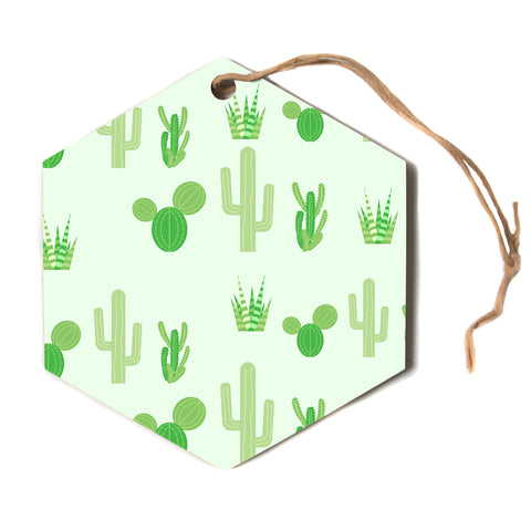 "Famenxt ""Prickly Mint Cactus""  Hexagon Holiday Ornament"