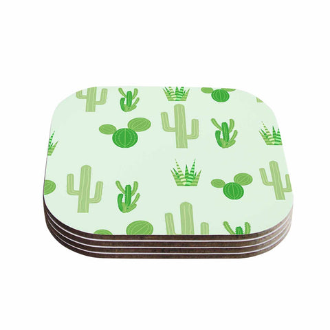 "Famenxt ""Prickly Mint Cactus"" Green Nature Illustration Coasters (Set of 4)"