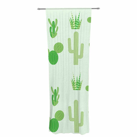 "Famenxt ""Prickly Mint Cactus"" Green Nature Illustration Decorative Sheer Curtain"