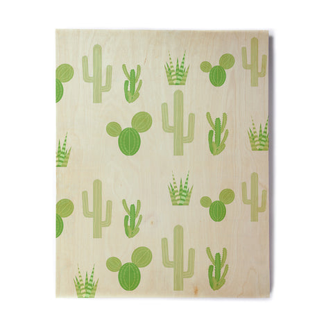 "Famenxt ""Prickly Mint Cactus"" Green Nature Illustration Birchwood Wall Art"