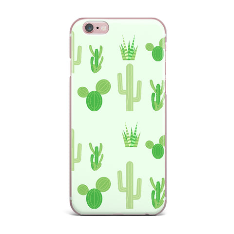 "Famenxt ""Prickly Mint Cactus"" Green Nature Illustration iPhone Case"