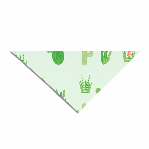 "Famenxt ""Prickly Mint Cactus"" Green Nature Illustration Pet Bandana"
