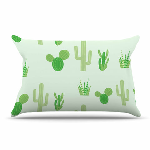 "Famenxt ""Prickly Mint Cactus"" Green Nature Illustration Pillow Sham"