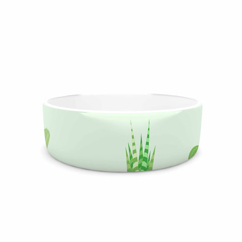 "Famenxt ""Prickly Mint Cactus"" Green Nature Illustration Pet Bowl"