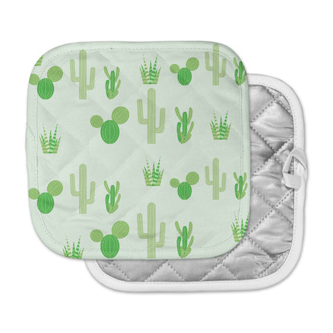 "Famenxt ""Prickly Mint Cactus"" Green Nature Illustration Pot Holder"