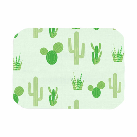 "Famenxt ""Prickly Mint Cactus"" Green Nature Illustration Place Mat"