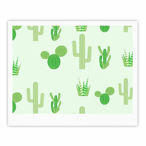 "Famenxt ""Prickly Mint Cactus"" Green Nature Illustration Fine Art Gallery Print"