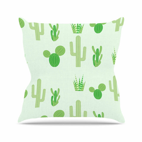 "Famenxt ""Prickly Mint Cactus"" Green Nature Illustration Outdoor Throw Pillow"