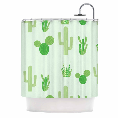 "Famenxt ""Prickly Mint Cactus"" Green Nature Illustration Shower Curtain"