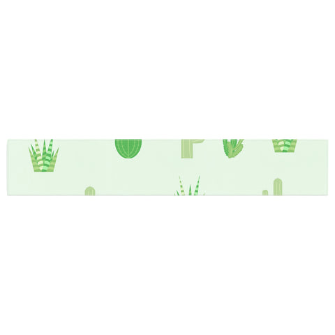 "Famenxt ""Prickly Mint Cactus"" Green Nature Illustration Table Runner"