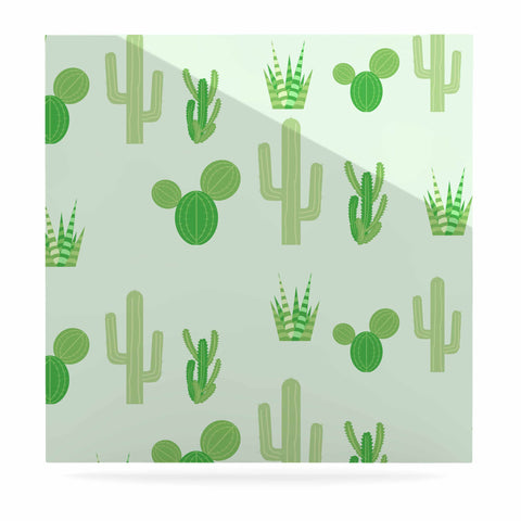 "Famenxt ""Prickly Mint Cactus"" Green Nature Illustration Luxe Square Panel"