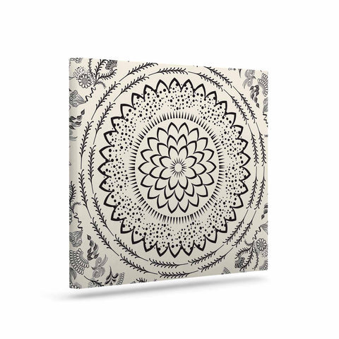 "Famenxt ""Botanical Folk Mandala"" Beige Black Illustration Canvas Art"