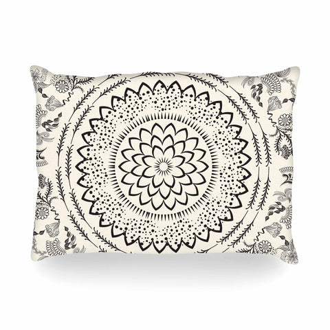 "Famenxt ""Botanical Folk Mandala"" Beige Black Illustration Oblong Pillow"
