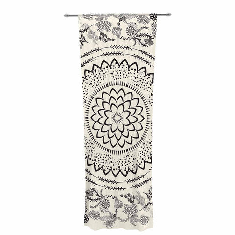 "Famenxt ""Botanical Folk Mandala"" Beige Black Illustration Decorative Sheer Curtain"
