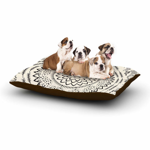 "Famenxt ""Botanical Folk Mandala"" Beige Black Illustration Dog Bed"
