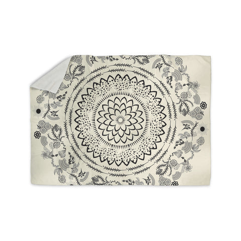"Famenxt ""Botanical Folk Mandala"" Beige Black Illustration Sherpa Blanket"