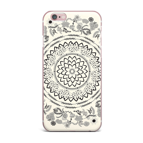 "Famenxt ""Botanical Folk Mandala"" Beige Black Illustration iPhone Case"