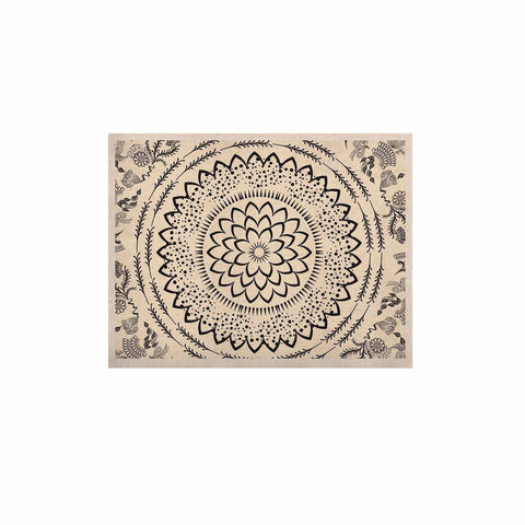 "Famenxt ""Botanical Folk Mandala"" Beige Black Illustration KESS Naturals Canvas (Frame not Included)"