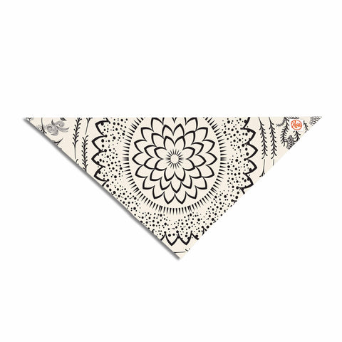 "Famenxt ""Botanical Folk Mandala"" Beige Black Illustration Pet Bandana"