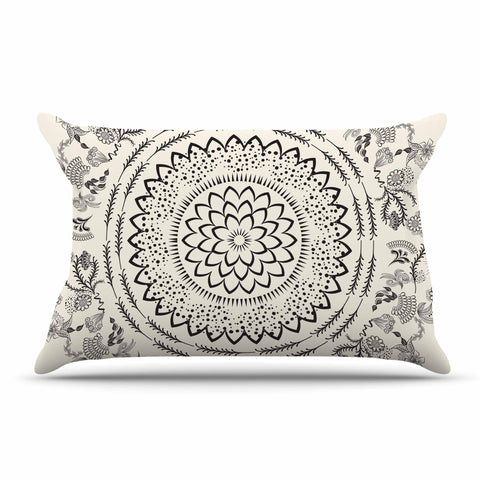 "Famenxt ""Botanical Folk Mandala"" Beige Black Illustration Pillow Sham"