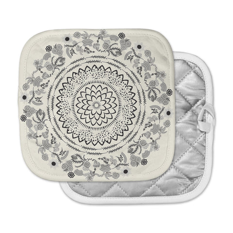 "Famenxt ""Botanical Folk Mandala"" Beige Black Illustration Pot Holder"