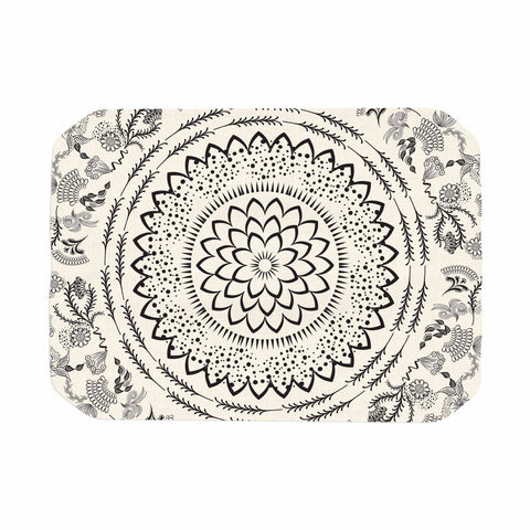 "Famenxt ""Botanical Folk Mandala"" Beige Black Illustration Place Mat"