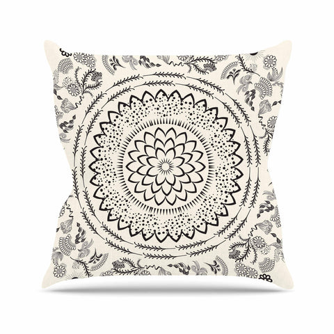 "Famenxt ""Botanical Folk Mandala"" Beige Black Illustration Outdoor Throw Pillow"