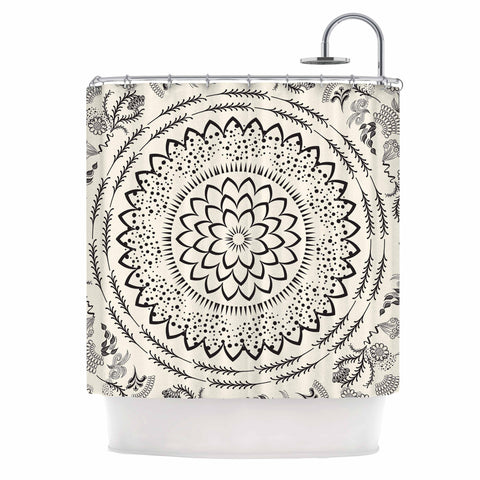 "Famenxt ""Botanical Folk Mandala"" Beige Black Illustration Shower Curtain"