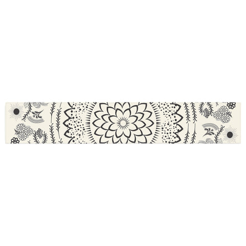 "Famenxt ""Botanical Folk Mandala"" Beige Black Illustration Table Runner"