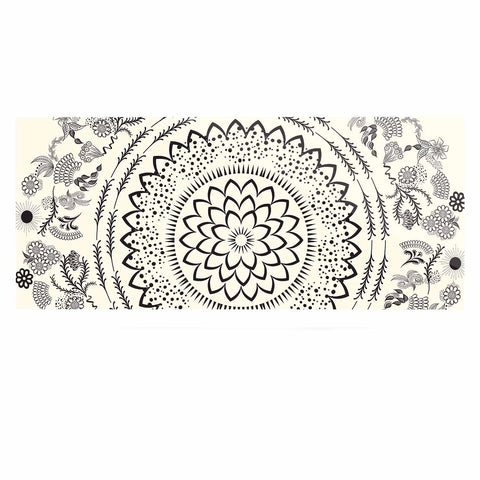 "Famenxt ""Botanical Folk Mandala"" Beige Black Illustration Luxe Rectangle Panel"