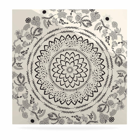 "Famenxt ""Botanical Folk Mandala"" Beige Black Illustration Luxe Square Panel"
