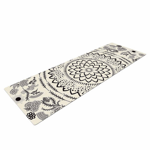 "Famenxt ""Botanical Folk Mandala"" Beige Black Illustration Yoga Mat"