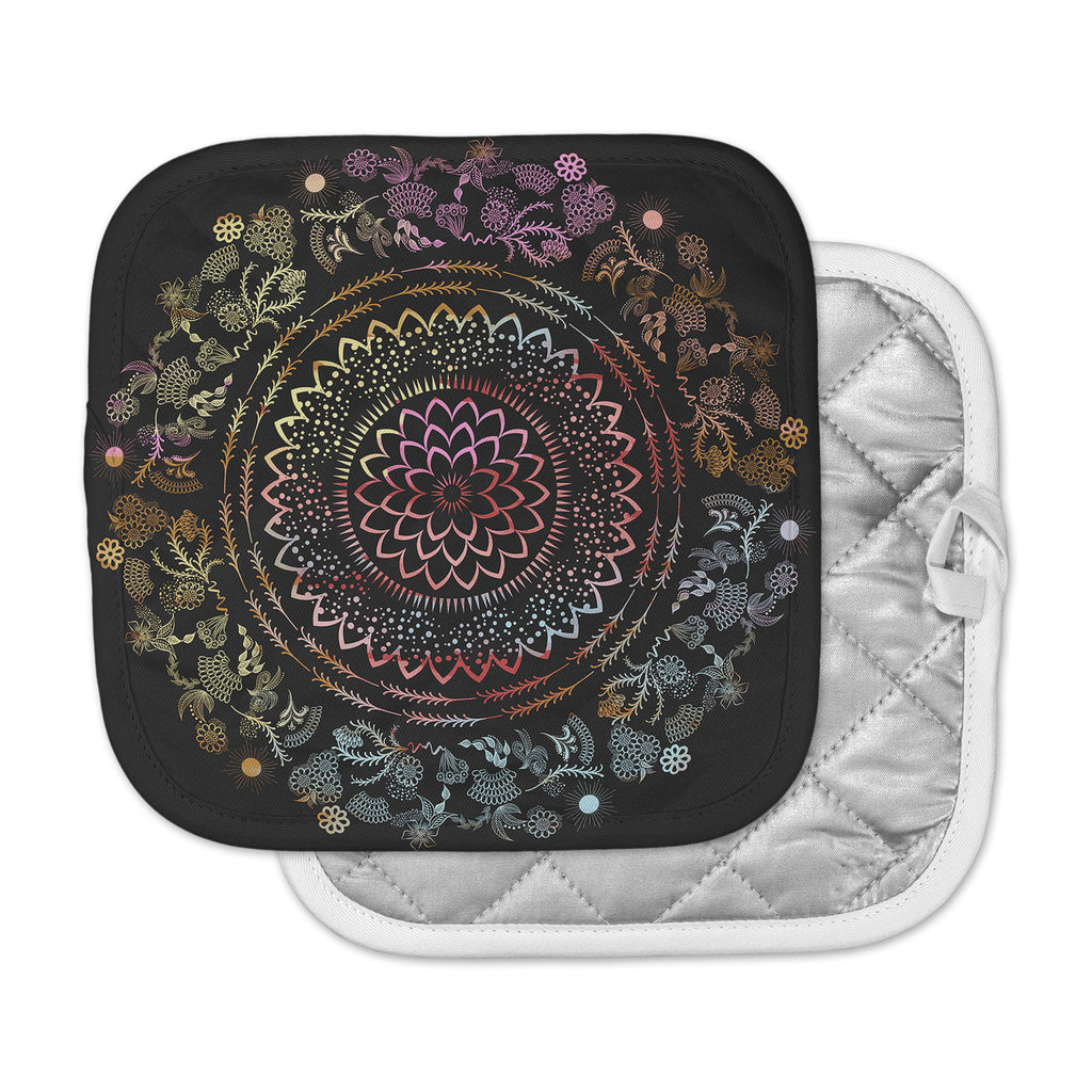 "Famenxt ""Botanical Watercolor Mandala"" Black Multicolor Illustration Pot Holder"