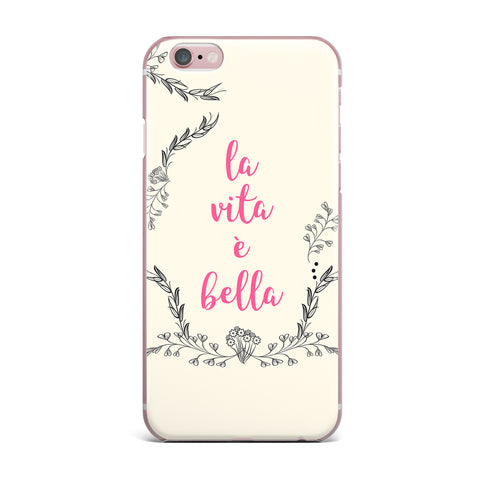 "Famenxt ""Life Is Beautiful Vintage"" Beige Pink Illustration iPhone Case"