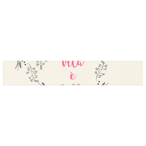 "Famenxt ""Life Is Beautiful Vintage"" Beige Pink Illustration Table Runner"