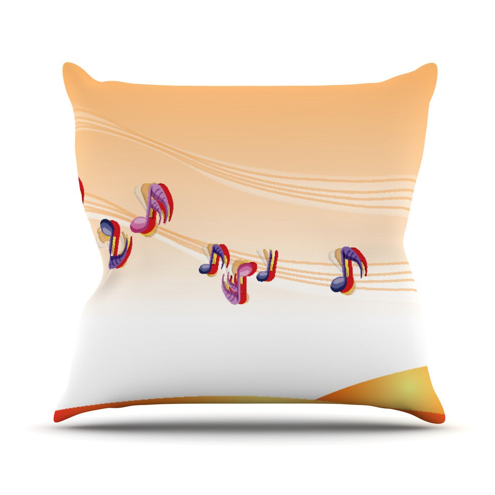 "Fotios Pavlopoulos ""Nature Music"" Orange White Throw Pillow - KESS InHouse  - 1"