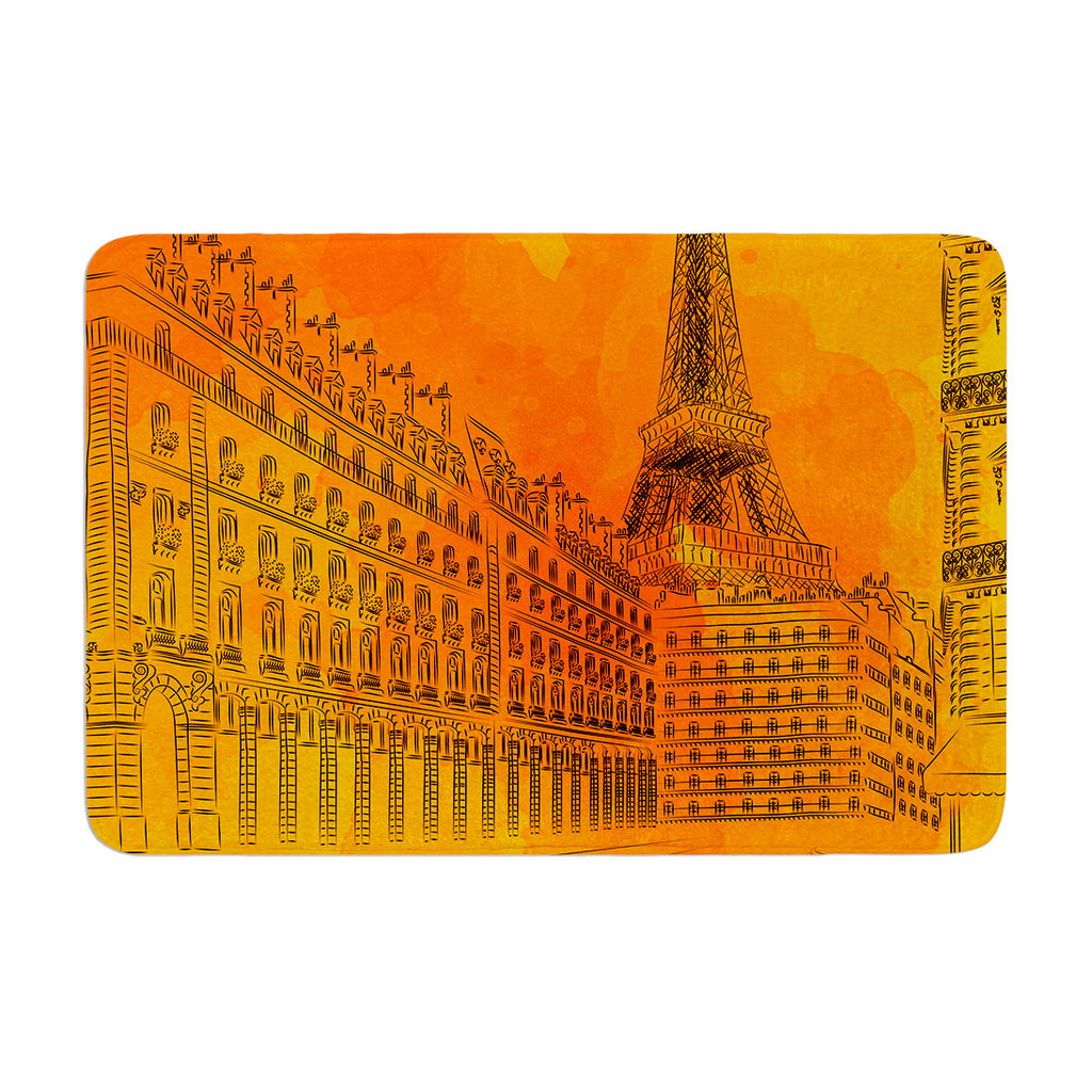 "Fotios Pavlopoulos ""Parisian Sunsets"" Orange City Memory Foam Bath Mat - KESS InHouse"