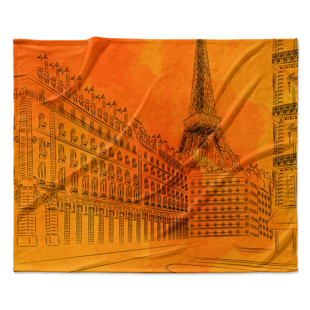 "Fotios Pavlopoulos ""Parisian Sunsets"" Orange City Fleece Throw Blanket"