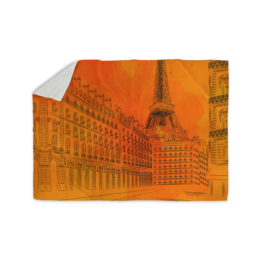 "Fotios Pavlopoulos ""Parisian Sunsets"" Orange City Sherpa Blanket - KESS InHouse  - 1"