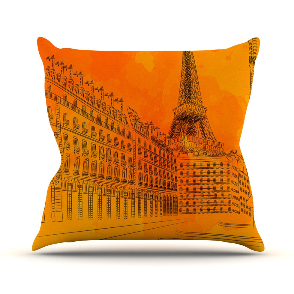 "Fotios Pavlopoulos ""Parisian Sunsets"" Orange City Throw Pillow - KESS InHouse  - 1"