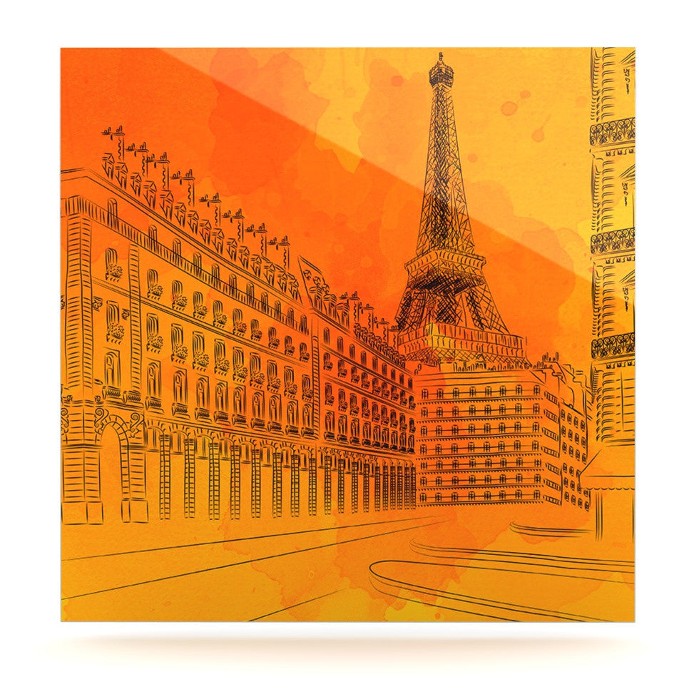 "Fotios Pavlopoulos ""Parisian Sunsets"" Orange City Luxe Square Panel - KESS InHouse  - 1"