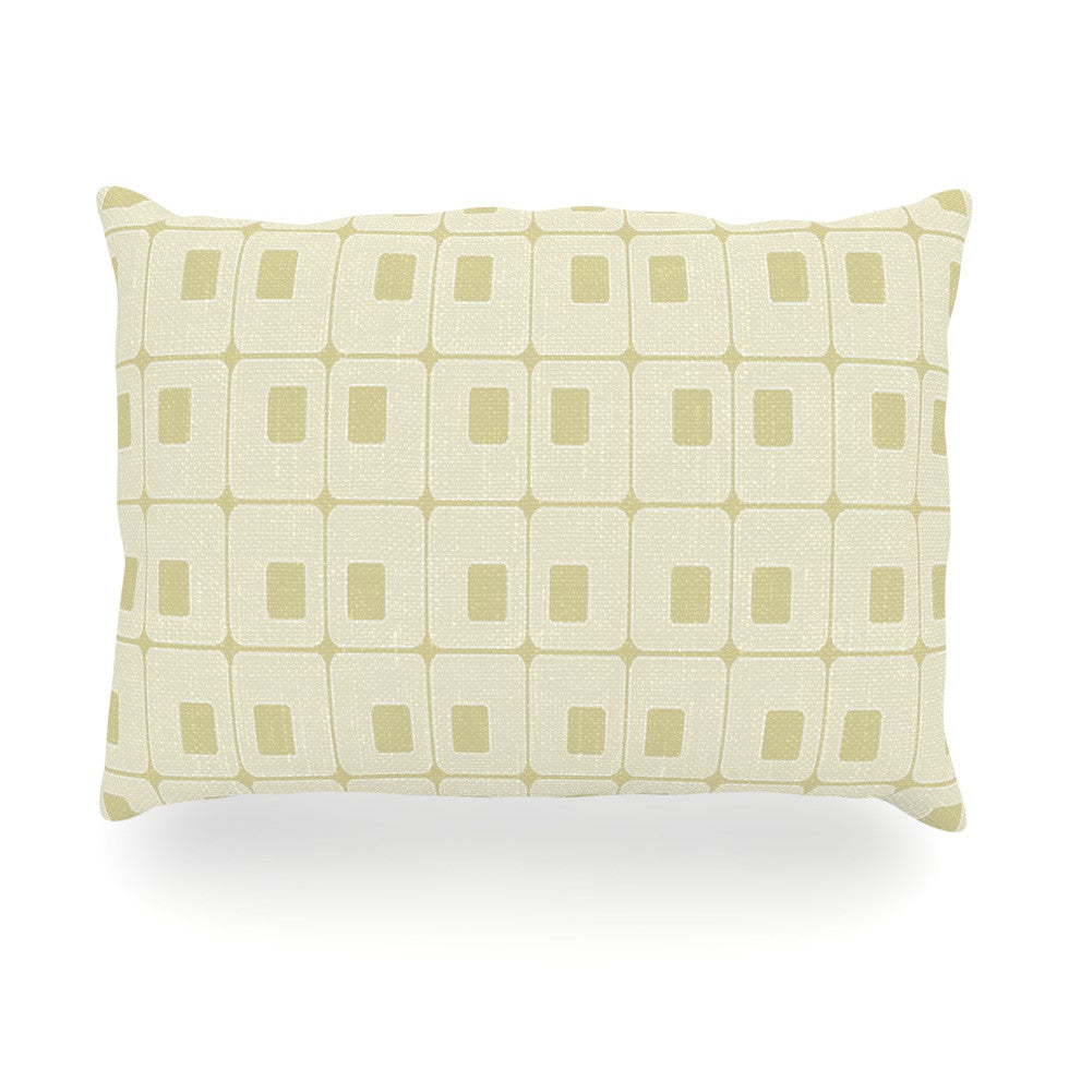 "Fotios Pavlopoulos ""Squares in Square"" Tan Shapes Oblong Pillow - KESS InHouse"