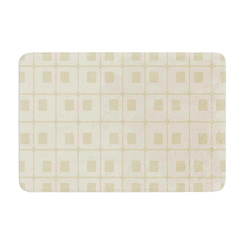 "Fotios Pavlopoulos ""Squares in Square"" Tan Shapes Memory Foam Bath Mat - KESS InHouse"