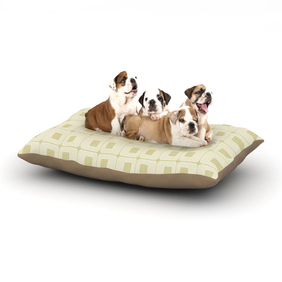 "Fotios Pavlopoulos ""Squares in Square"" Tan Shapes Dog Bed - KESS InHouse  - 1"