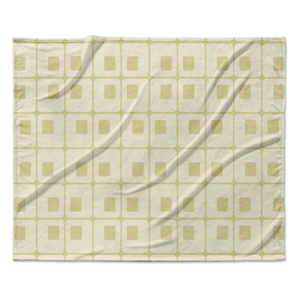 "Fotios Pavlopoulos ""Squares in Square"" Tan Shapes Fleece Throw Blanket"